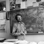 Physicist John S. Bell in his office at CERN, 1982
